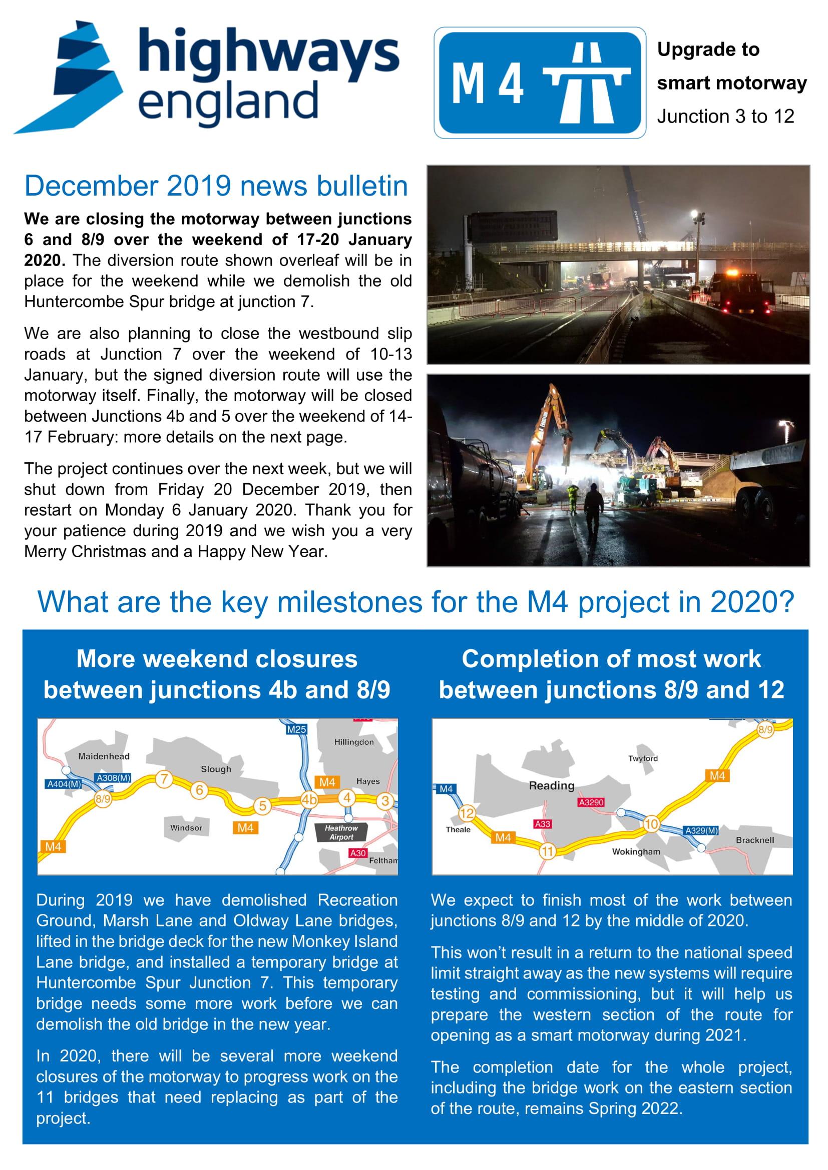 M4 Junctions 3 to 12 Upgrade to Smart Motorway